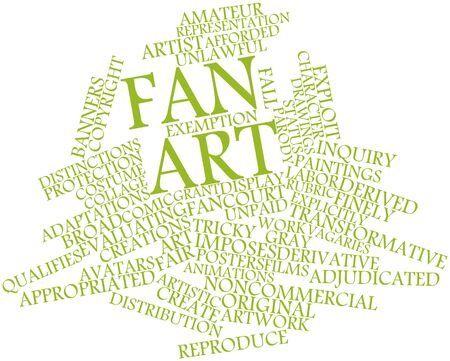 distinctions: Abstract word cloud for Fan art with related tags and terms