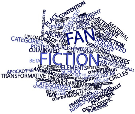 encyclopedic: Abstract word cloud for Fan fiction with related tags and terms Stock Photo