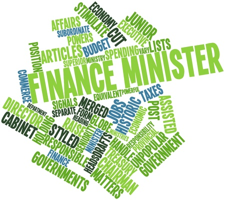 minister: Abstract word cloud for Finance minister with related tags and terms