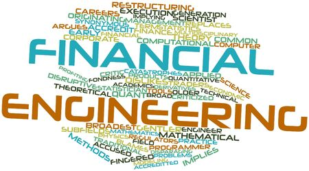 disruptive: Abstract word cloud for Financial engineering with related tags and terms Stock Photo