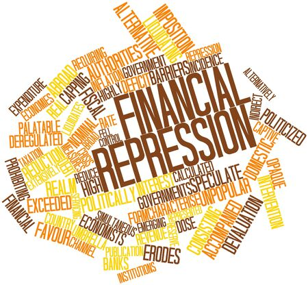financial institutions: Abstract word cloud for Financial repression with related tags and terms Stock Photo
