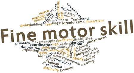 Nube palabra abstracta por habilidad motora fina con etiquetas y términos relacionados