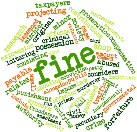 traffic violation: Abstract word cloud for Fine with related tags and terms Stock Photo