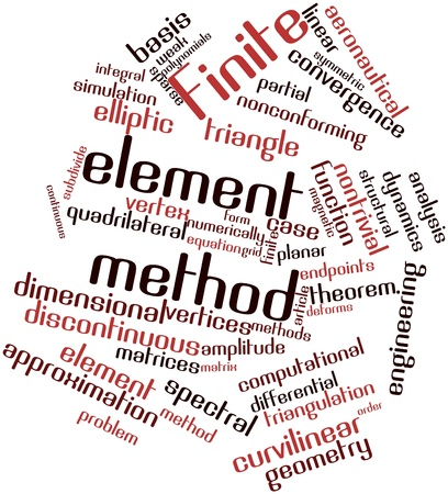 finite: Abstract word cloud for Finite element method with related tags and terms Stock Photo