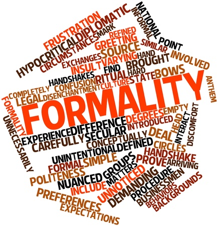 informal: Abstract word cloud for Formality with related tags and terms Stock Photo