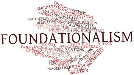 critique: Abstract word cloud for Foundationalism with related tags and terms Stock Photo