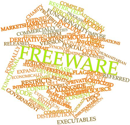 implies: Abstract word cloud for Freeware with related tags and terms Stock Photo