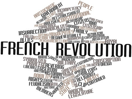 abstract word cloud for french revolution with related tags and