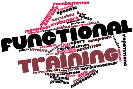 Abstract woordwolk voor Functionele training met gerelateerde tags en voorwaarden Stockfoto