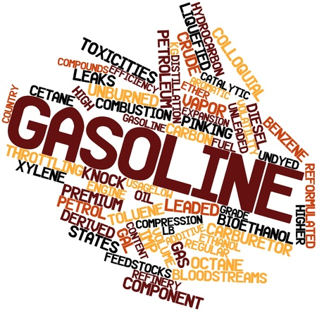 sequester: Abstract word cloud for Gasoline with related tags and terms Stock Photo