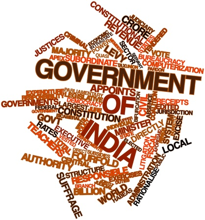 vested: Abstract word cloud for Government of India with related tags and terms Stock Photo