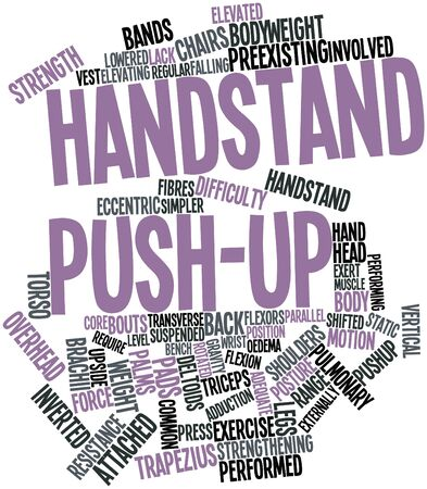 Abstract word cloud for Handstand push-up with related tags and terms Stock Photo - 16720105