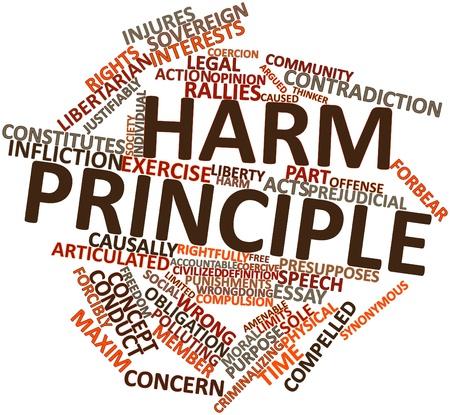 synoniem: Abstract woordwolk voor Harm principe met gerelateerde tags en voorwaarden Stockfoto