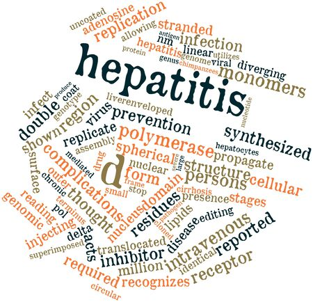liver cirrhosis: Abstract word cloud for Hepatitis D with related tags and terms Stock Photo
