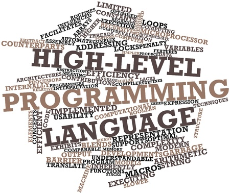 lacks: Abstract word cloud for High-level programming language with related tags and terms Stock Photo