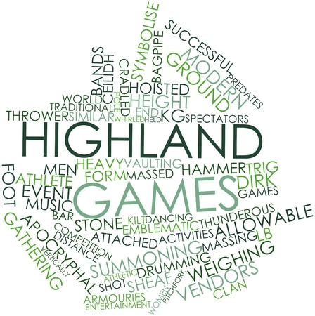game gun: Abstract word cloud for Highland games with related tags and terms