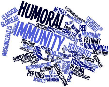 inmunidad: Nube palabra abstracta por inmunidad humoral con las etiquetas y términos relacionados Foto de archivo