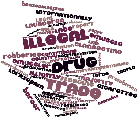 vaporized: Abstract word cloud for Illegal drug trade with related tags and terms