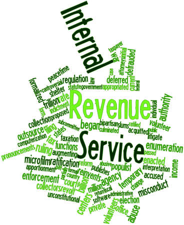 illiterate: Abstract word cloud for Internal Revenue Service with related tags and terms