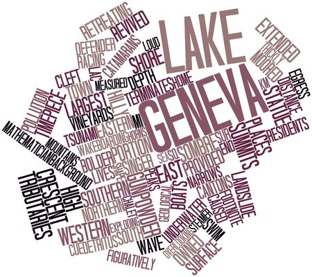 crescent lake: Abstract word cloud for Lake Geneva with related tags and terms