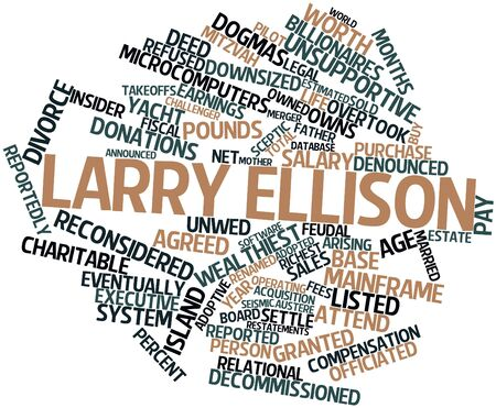 downsized: Abstract word cloud for Larry Ellison with related tags and terms
