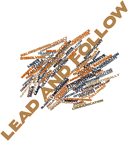 dissolving: Abstract word cloud for Lead and follow with related tags and terms