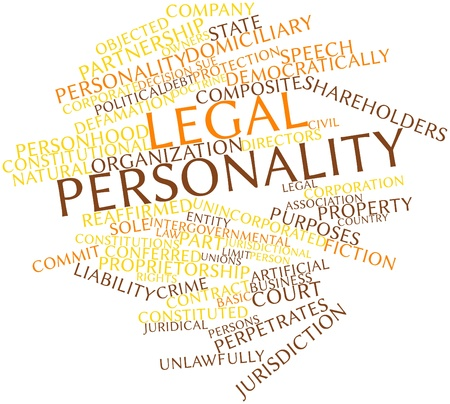 to sue: Abstract word cloud for Legal personality with related tags and terms