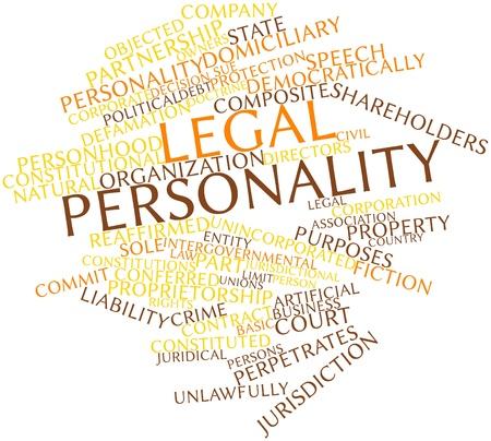 dictating: Nube de la palabra abstracta de la personalidad jur�dica con las etiquetas y t�rminos relacionados Foto de archivo