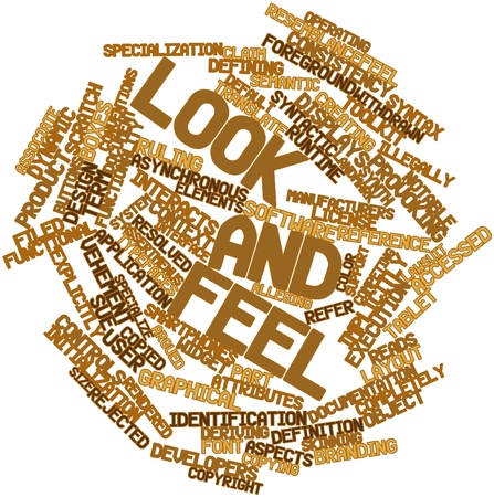 vehement: Abstract word cloud for Look and feel with related tags and terms Stock Photo