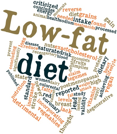 concludes: Abstract word cloud for Low-fat diet with related tags and terms Stock Photo