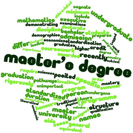 master degree: Abstract word cloud for Masters degree with related tags and terms