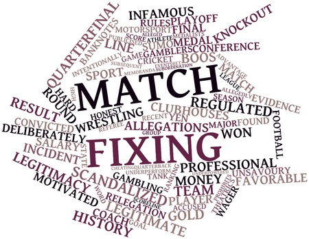 Abstract word cloud for Match fixing with related tags and terms Stock Photo