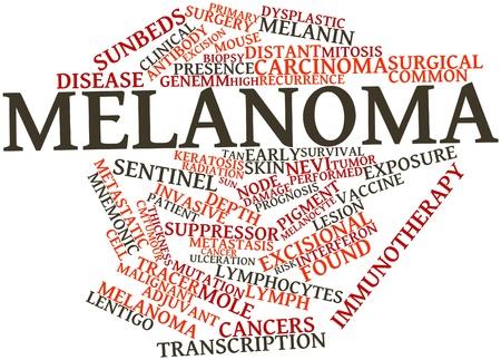 biopsia: Nube palabra abstracta para el melanoma con etiquetas y t�rminos relacionados Foto de archivo
