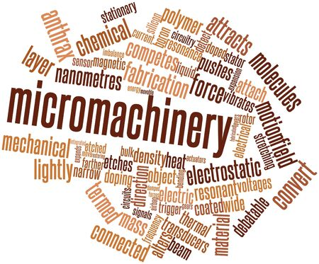 doped: Abstract word cloud for Micromachinery with related tags and terms Stock Photo