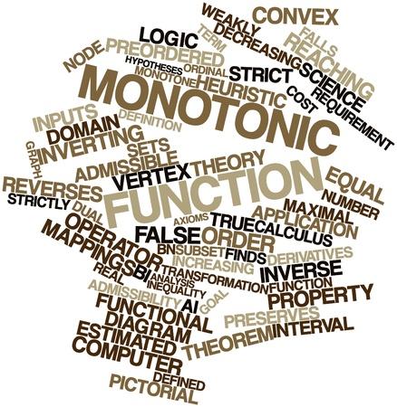 arbitrario: Nube palabra abstracta para la función monótona con etiquetas y términos relacionados