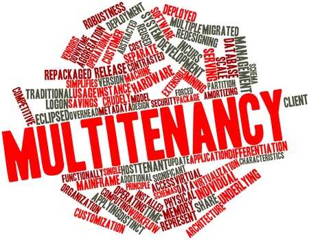 Abstract word cloud for Multitenancy with related tags and terms Stock Photo - 16720764