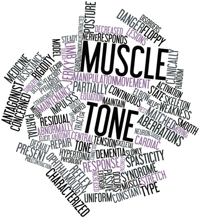 lesions: Abstract word cloud for Muscle tone with related tags and terms
