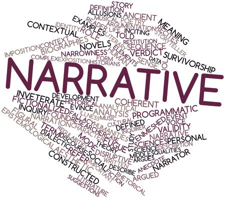 dialectic: Abstract word cloud for Narrative with related tags and terms Stock Photo