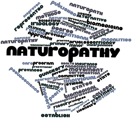 pseudoscience: Abstract word cloud for Naturopathy with related tags and terms Stock Photo