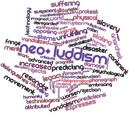 distinguishes: Abstract word cloud for Neo-Luddism with related tags and terms Stock Photo