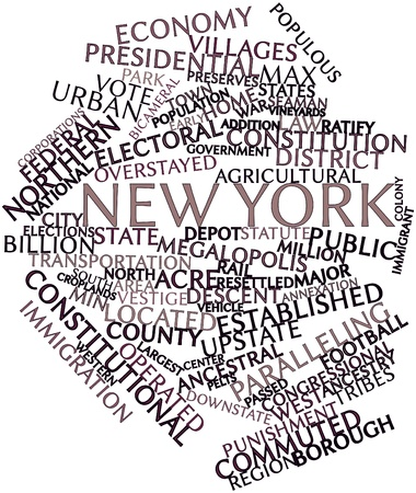 Abstract word cloud for New York with related tags and terms