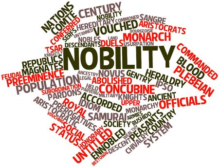 bestowal: Abstract word cloud for Nobility with related tags and terms