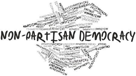 eligible: Word cloud astratto per non-partisan democrazia con tag correlati e termini