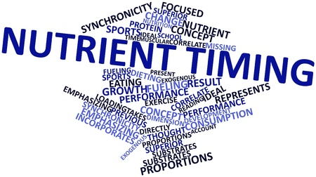 Abstract word cloud for Nutrient timing with related tags and terms