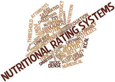 calories poor: Abstract word cloud for Nutritional rating systems with related tags and terms Stock Photo