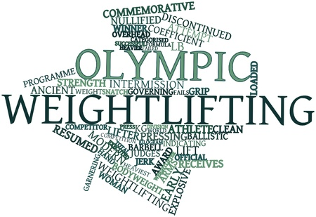 Abstract word cloud for Olympic weightlifting with related tags and terms Stock Photo - 16719633