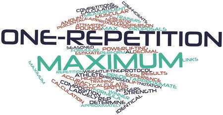 spotter: Abstract word cloud for One-repetition maximum with related tags and terms