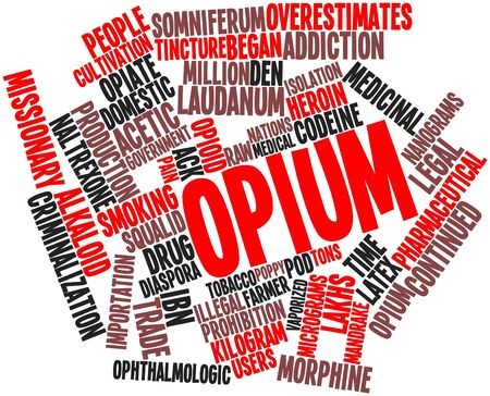 opium: Abstract word cloud for Opium with related tags and terms Stock Photo