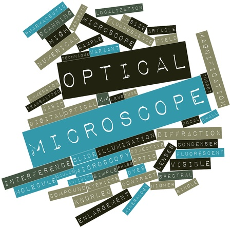 modifiable: Abstract word cloud for Optical microscope with related tags and terms Stock Photo