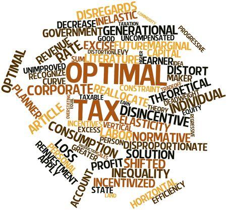 equidad: Nube palabra abstracta para el impuesto óptimo con las etiquetas y términos relacionados
